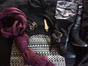 Black Turtle Neck (Consignment)  Watch - Coach Outlet Skirt - Bob's Store Scarf - Forever 21 Earrings - Target Black Knee Boots - eBay